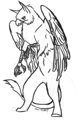 Standing gryphon drawing